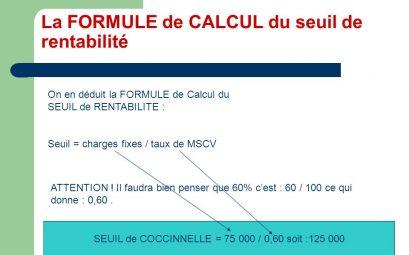 calcul du seuil de rentabilité